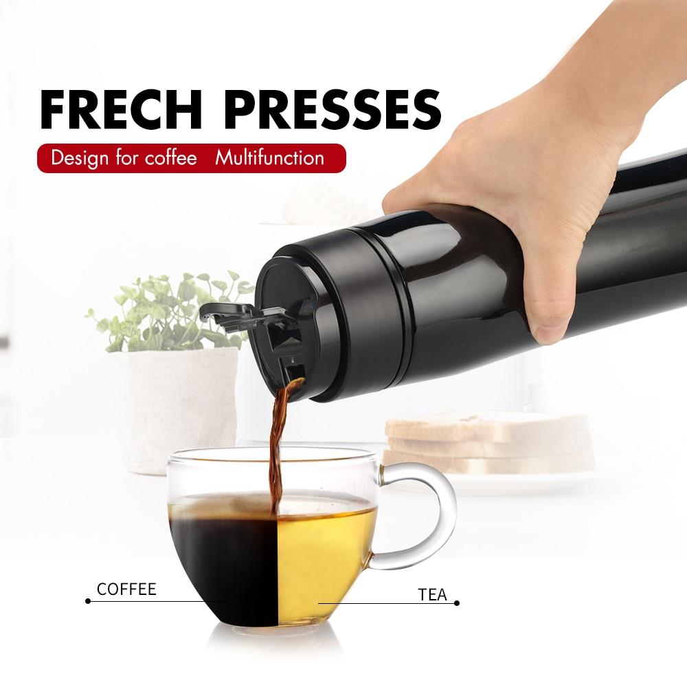 Filtro de aço inoxidável portátil da isolação do potenciômetro da imprensa francesa 350 ml para o chá e o café criativo cafeteira frascos do vácuo & thermose