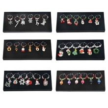 6 pc/caixa mesa de vinho marcas de vidro decoração presente de natal ornamentos de vinho decoração de natal decorações de natal festa de ano novo decoração de jantar