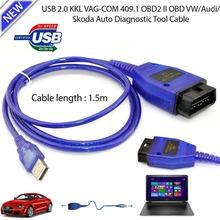 Araba oto USB kablosu KKL VAG-COM 409.1 OBD2 II OBD WINDOWS 98/ME/2000/NT ve XP teşhis tarayıcı V W Vag Com arayüzü