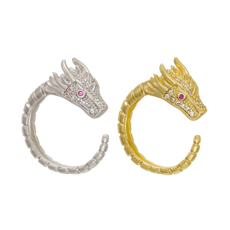 Hecheng dragão anel atacado para mulheres moda acessórios jóias cz ouro cor anel cooper vj23