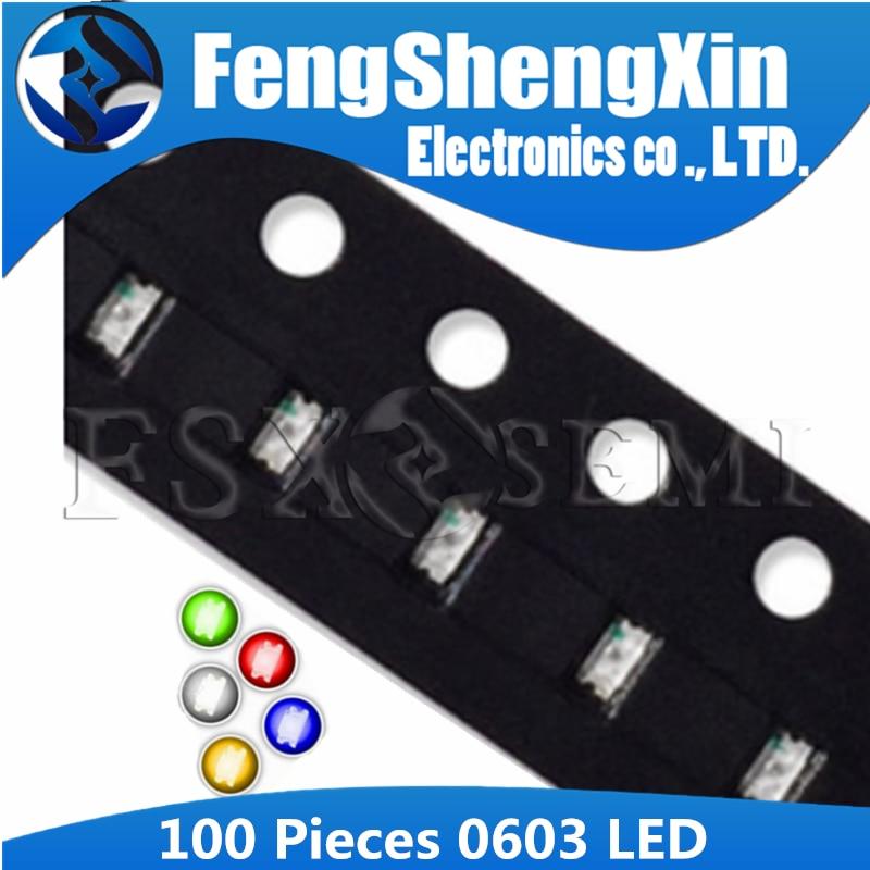100 unids/lote 0603 LED 1,6*0,8 MM resaltando los diodos emisores de luz SMD LED rojo blanco amarillo azul verde naranja