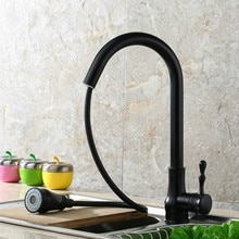 ZGRK Kitchen Faucet Blackened Brass Kitchen Sink Mixer Deck Mounted Single Handle Single Hole Kitchen Faucet Pull Out