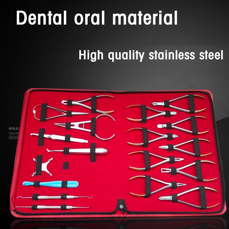 Set de 18 piezas de ortodoncia, set de herramientas de ortodoncia, set completo de ortodoncia Dental de acero inoxidable