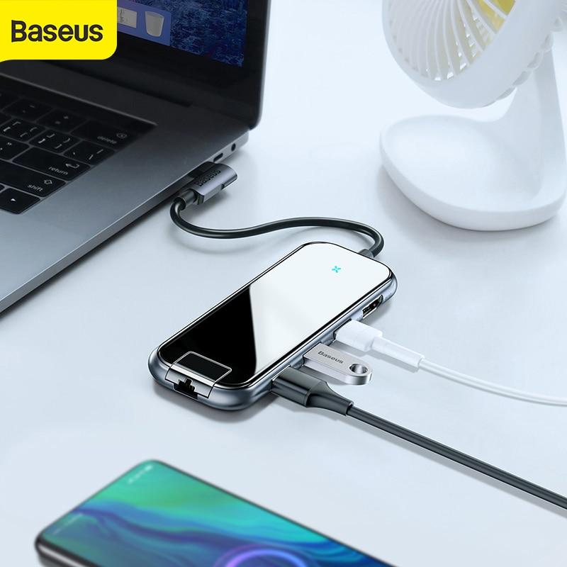 Baseus мульти usb хаб type C к HDMI RJ45 USB3.0 адаптер питания для MacBook Pro Air Dock 6 портов USB C usb разветвитель Hab переходник для компьютера
