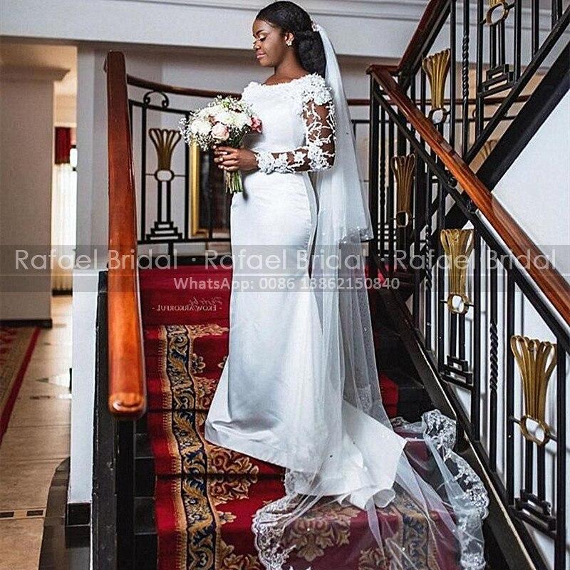 2021 pura vaina De manga larga vestido De boda con cuentas apliques...