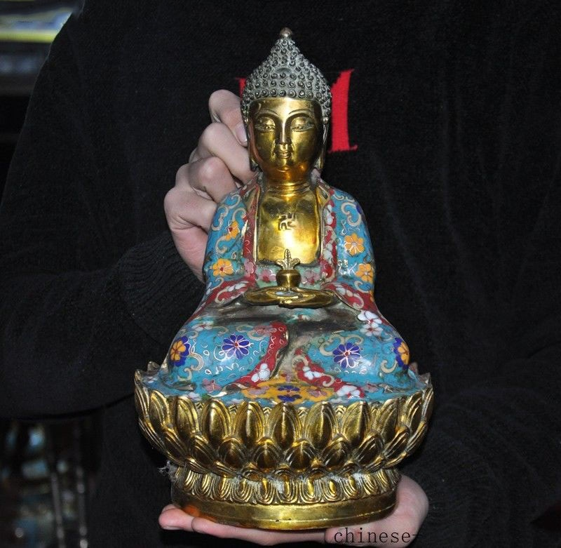 "christmas 11""Tibet bronze Cloisonne Enamel Gilt Tathagata sakyamuni Medicine Buddha statue New Year"