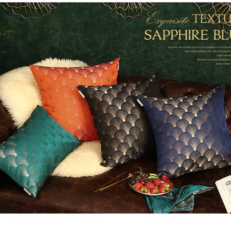 Lujosa funda de almohada de Jacquard europeo azul marino negro BlueHome Decor funda decorativa para cojín funda de almohada decorativa