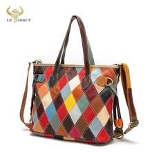 Multi-Color Quality Grain Leather Luxury Ladies Patchwork Large Shopping Handbag Shoulder bag Women