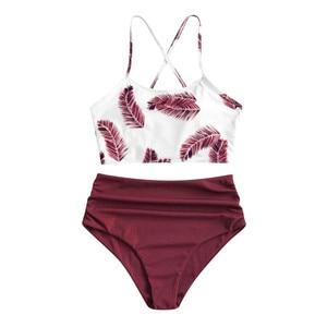 Women's bikini summer fashion wild leaf print tube top push-up sling halter high-waist hip-fit tight bikini split swimsuit