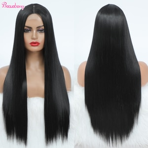 Long Straight Black Wig Synthetic Wigs For Women Middle Part Cheap Wig Natural Hair Heat Resistant Fiber Natural Looking Hair