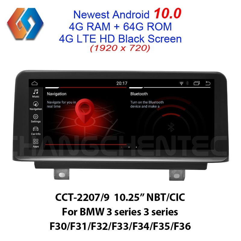 Incrível real android 10.0 64g rom tela para bmw 3 4 séries f30 f31 f34 f35 f32 f33 f36 nbt cic 1920x720 hd luxo tela preta