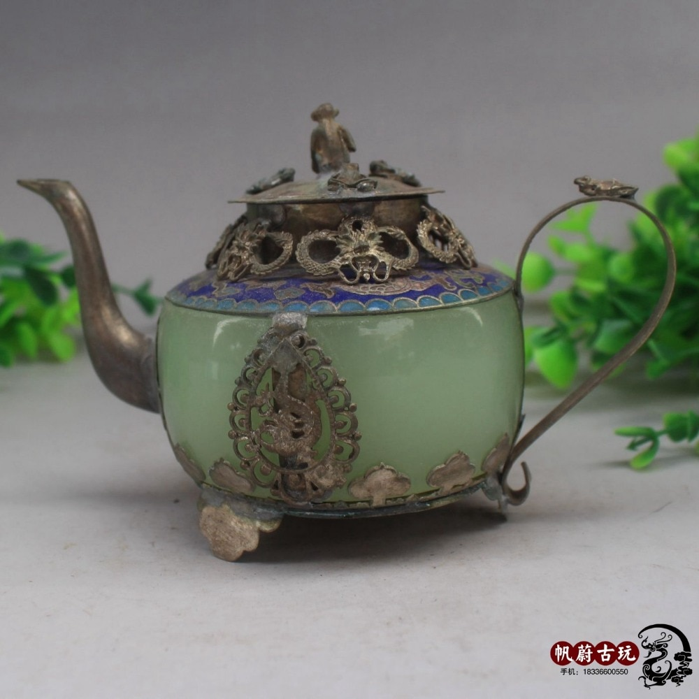 Antiguo bolso de cobre jade natural boca larga tetera de cobre artesanías adornos decorativos decoración del hogar