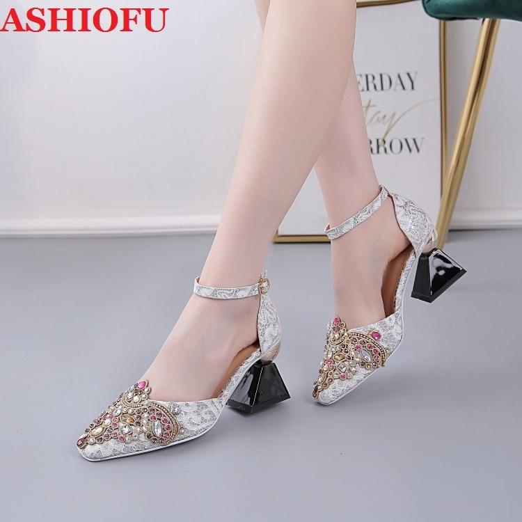 Ashiofu real-pic artesanal 2020 senhoras strass sandálias retro sapatos de festa de casamento pico-salto noite clube sandálias de moda sapatos