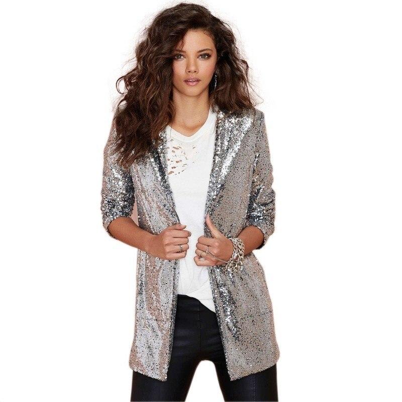 Sequin Blazers jacket Gold Bling Silver Black Women long sleeve Elegant Suit Coat Night club Glitter Shiny Punk Outwear