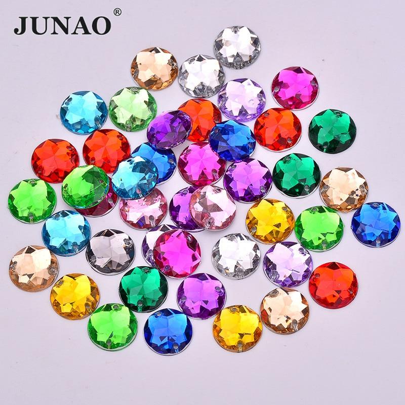 JUNAO 8 10 12 14 16 mm mezcla de colores acrílico cristal para coser pedrería aplique costura redondo Strass de espalda plana para costura
