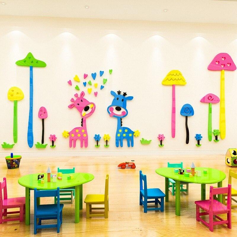 Crianças quarto 3d pintura de parede decalque dos desenhos animados girafa adesivos parede fundo adorno jardim infância mural decoração adesivos 5 tamanho