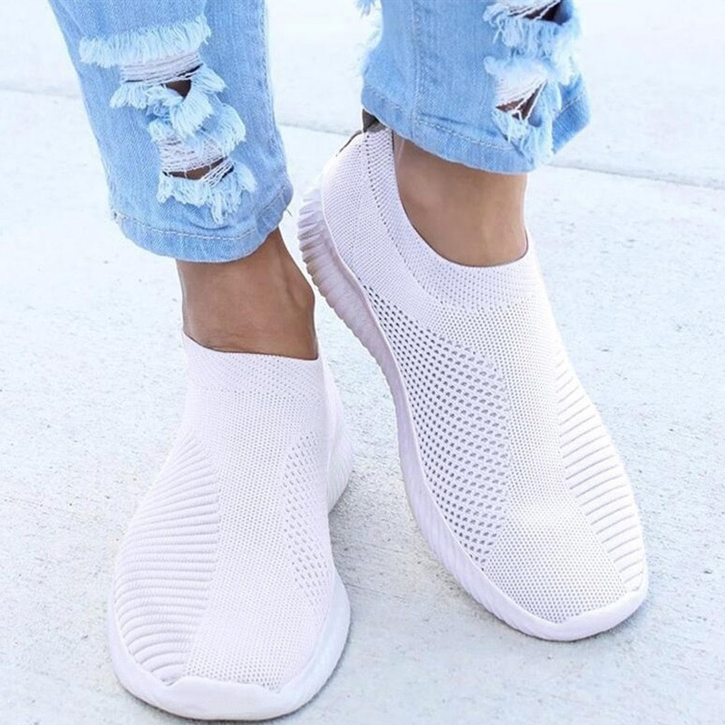 Women Flat Slip on White Shoes Woman Lightweight White Sneakers Summer Autumn Casual Chaussures Femm