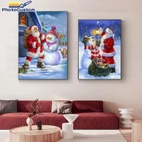 photocustom oil painting by numbers snowman santa claus pictures by numbers on canvas living room decor gift 40x50cm
