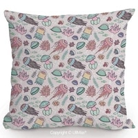 both sides same pattern printing x throw pillow covers under ocean life illustration with jellyfish fish coral plants water