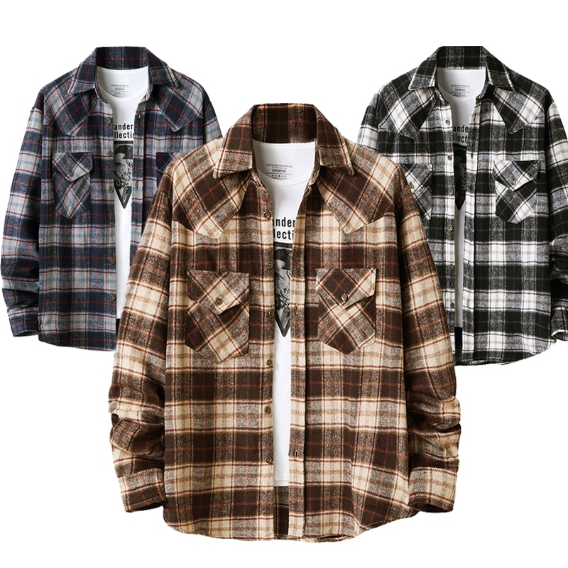 LUCLESAM Мужская Фланелевая рубашка в клетку, мужская рубашка на пуговицах с длинным рукавом, Клетчатая блузка, мужская рубашка