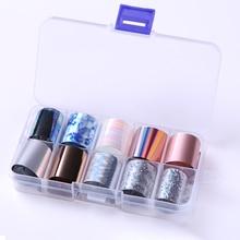 10 rouleaux/boîte holographique ongles feuilles ongles enveloppes multi-motif coloré transfert autocollant décalcomanies conseils Nail Art décorations
