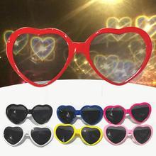 Magic Love Heart Shaped Sunglasses Light At Night Beautiful Scene Effects Women Glasses Christmas Pa