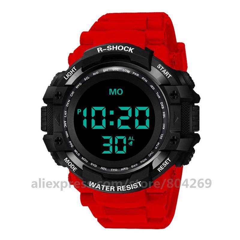 HONHX-ساعة يد رجالية ، رقمية ، مقاومة للماء ، كوارتز ، عسكرية ، LED