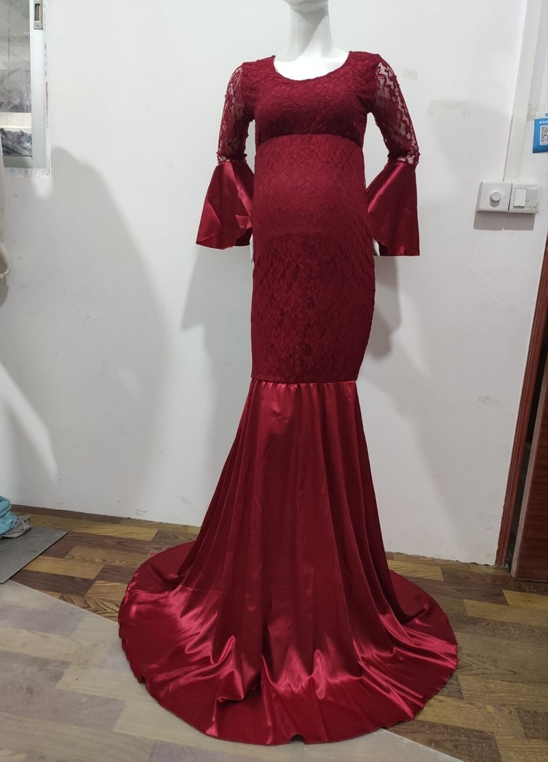 Lace Maxi Gown Maternity Dress for S Photo Shoot Women Long Sleeve Off Shoulder Mermaid Pregnancy Dress Robe Grossesse enlarge