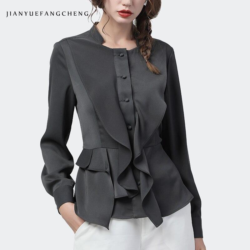 Fashion Women Square Neck Shirt Ruffles Long Sleeve Peplum Top Elegant Slim Solid Color 2020 Spring New Ladies Office Blouses