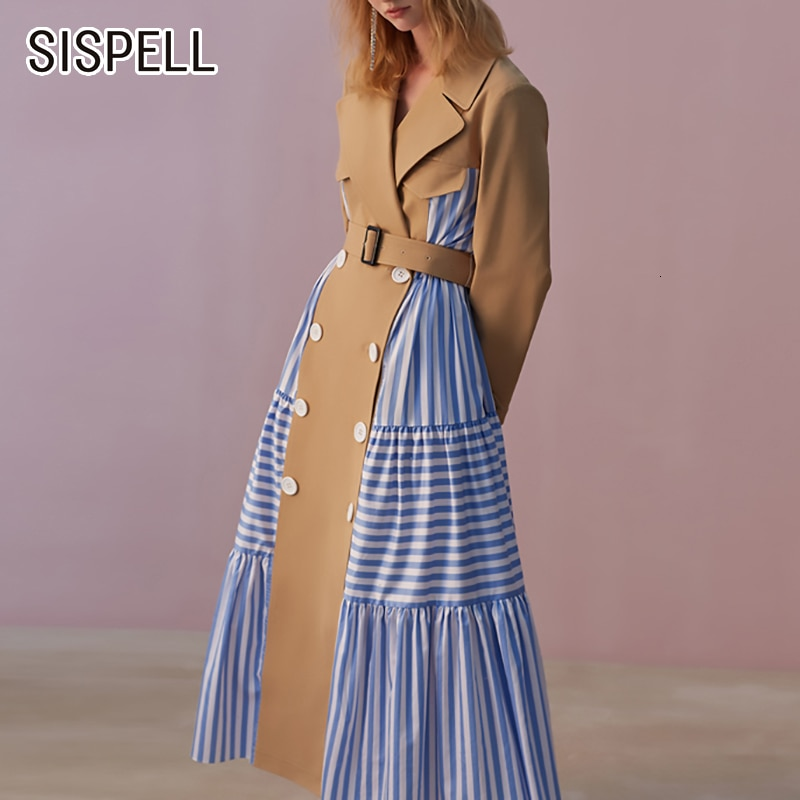 SISPELL Ruffle Patchwork Stripes Women's Trench Coat With Belt Lapel Collar High Waist For Female'
