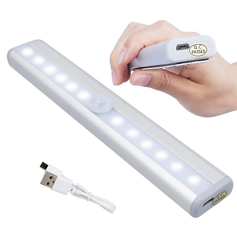 10 светодиодов USB Перезаряжаемый беспроводной светильник под шкафом светильник шкаф с датчиком движения Магнитная палка портативный светильник безопасности