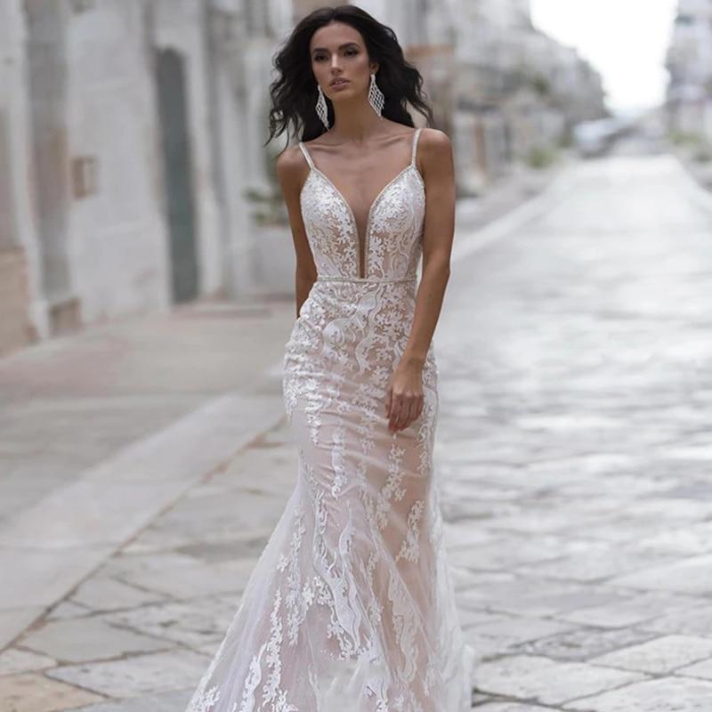 Get Wedding dress Mermaid wedding dress v-neck sleeveless sling backless buttons on the back luxury retro wedding gown