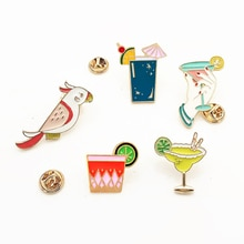 Fashion Summer Juice Drink Parrot Birds Cocktail Enamel Brooches Shirt Jackets Collar Lapel Pins Bac