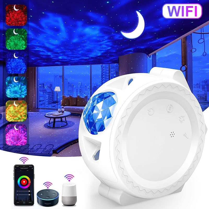 Smart Starry Sky Projector Galaxy Projector 3in1 Night Light Ocean Voice Music Control LED Lamp For Kid Gift Smart Life