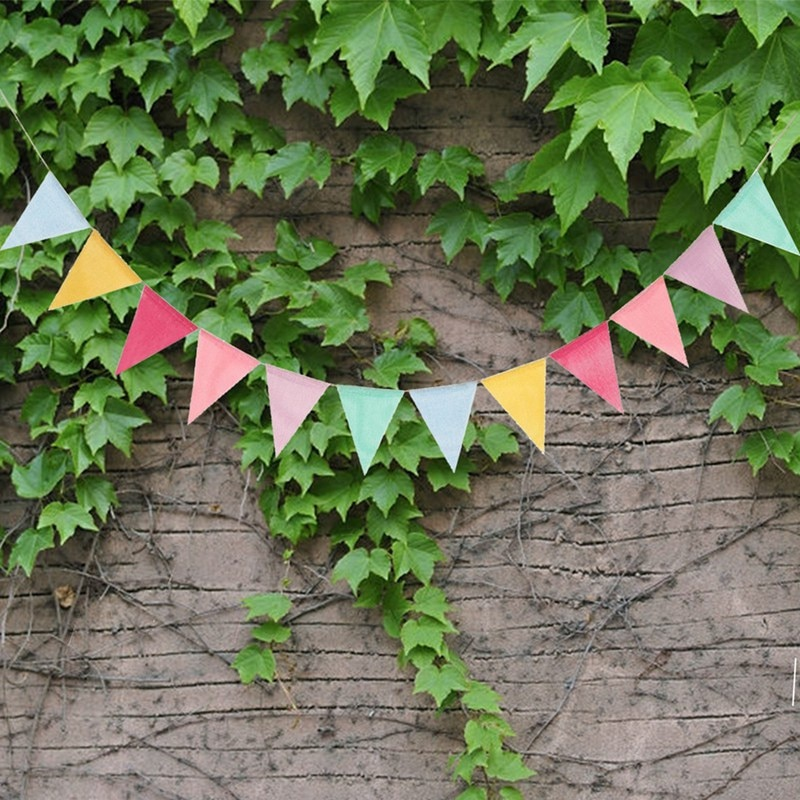 Wedding Decoration Festive Party Supplies Colorful Pull Flag Linen Pull Flag DIY Blank Pull Flag