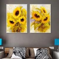Affiche de fleurs jaunes  peinture de tournesol rustique  toile  decor mural abstrait  decoration de maison