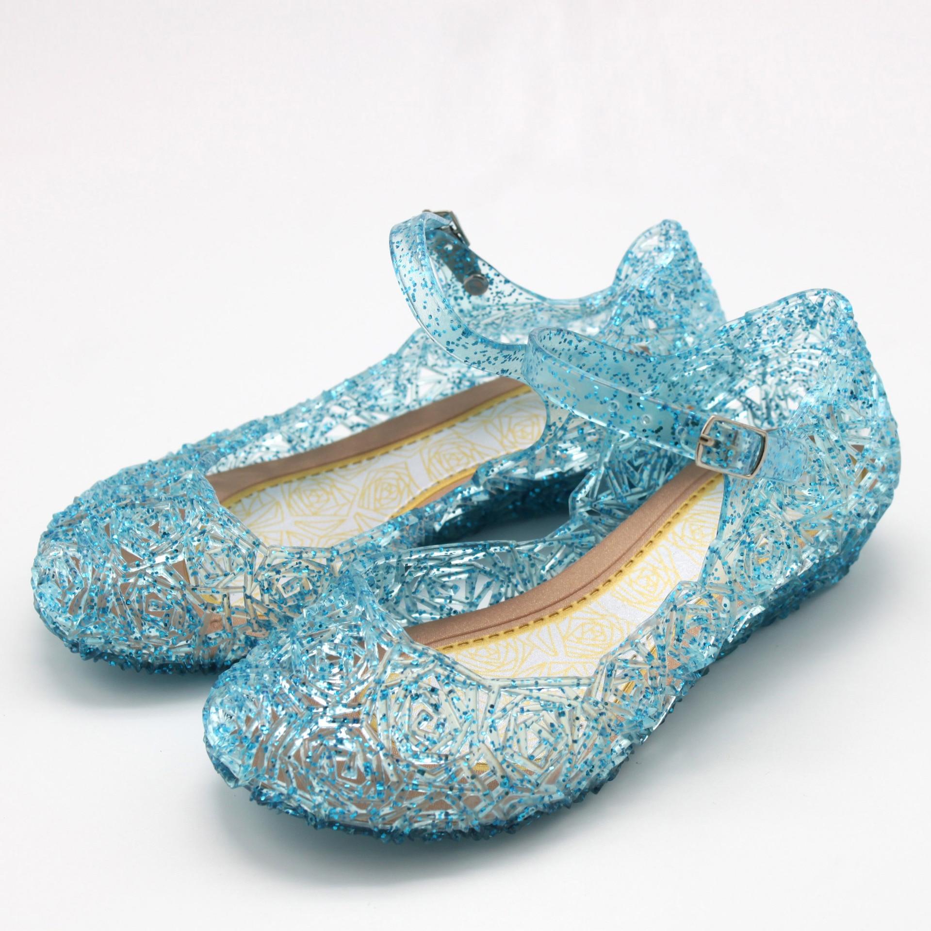 Princesa Anna Elsa zapatos Cenicienta cristal disfraz Zapatos Bebé niñas Cosplay traje sandalias fiesta