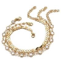 80 hot sale 3pcsset gold color simple chain anklets for women beach foot jewelry leg chain ankle bracelets bohemian women