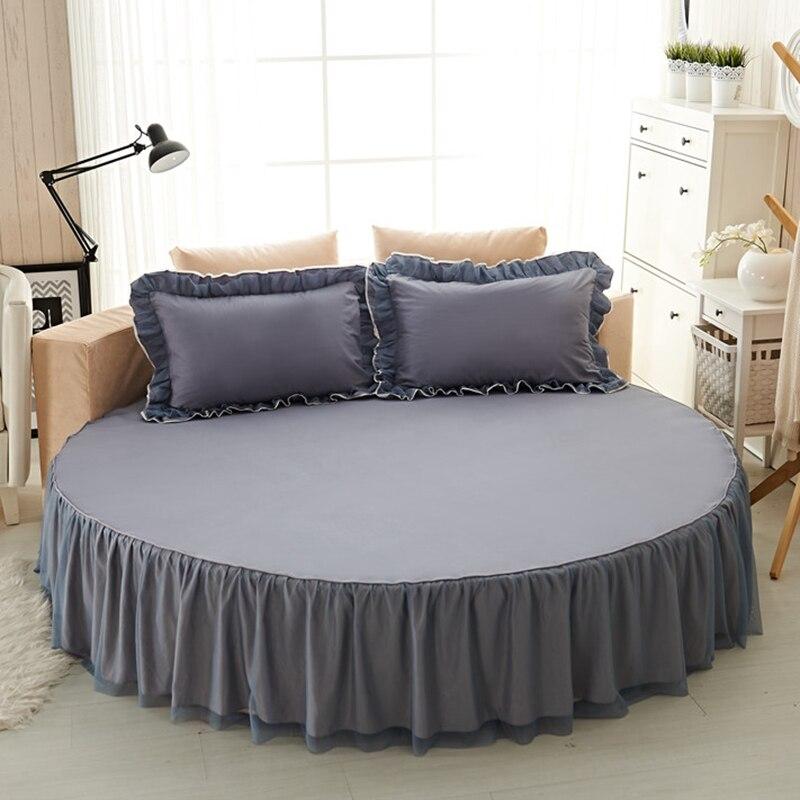 بلون تخصيص القطن جولة السرير تنورة سادات 1/3 قطعة مجموعة الفراش تركيبها جولة المفرش مريحة النسيج # sw