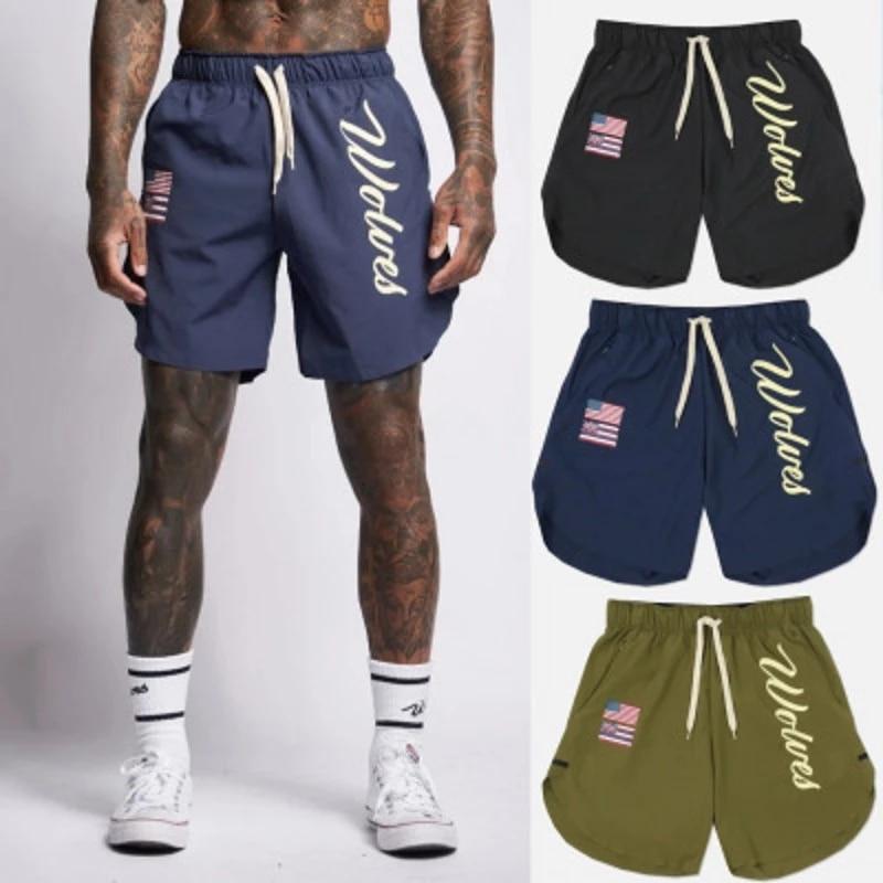 Мужские спортивные шорты, модные, для фитнеса, бодибилдинга, джоггеры, летние быстросохнущие крутые короткие брюки, мужские повседневные пл...