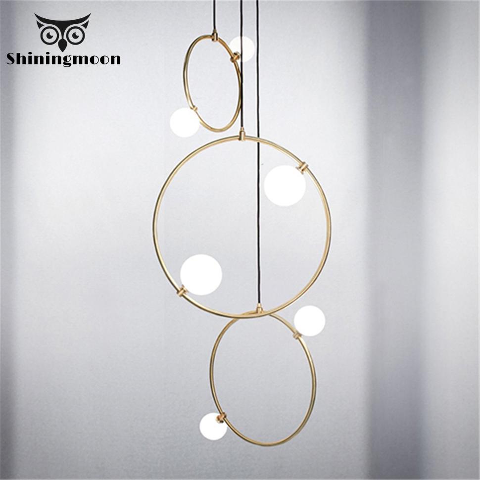 Creative Art Home Deco Ring Glass Pendant Lights Modern Living Room Bedroom Luxury Pendent Lamp Kitchen Hanging Lamps Fixture