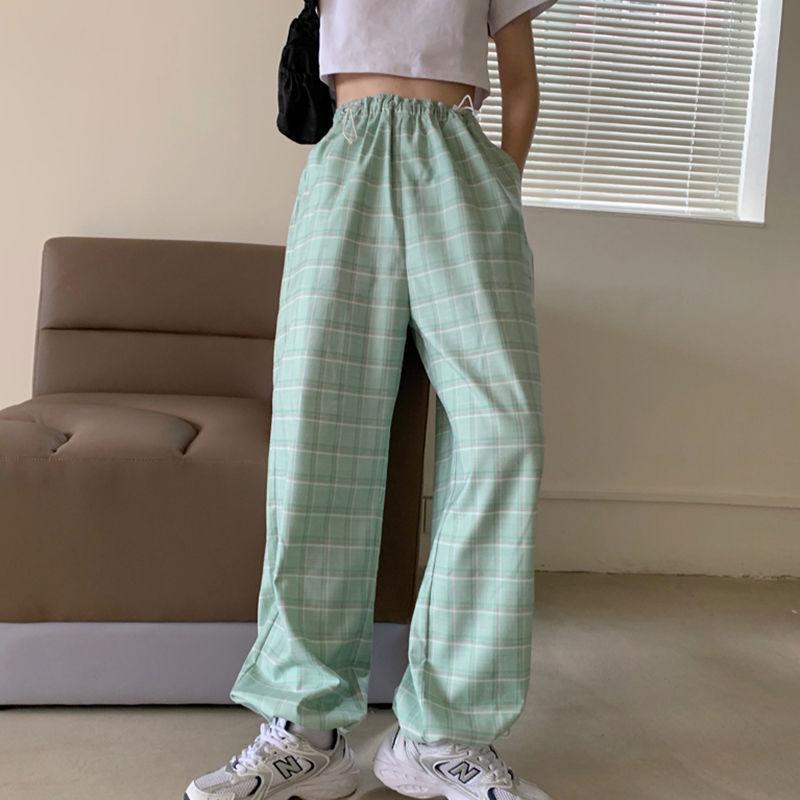 Deeptown xadrez calças para mulheres moda estilo coreano calças de perna larga outono 2020 feminino azul harajuku cintura alta joggers