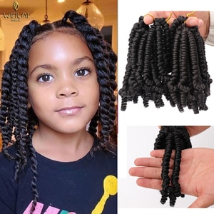WEILAI 5inch Fluffy Spring Twisted Crochet Synthetic Crochet Braid Black Brown Ombre Braided Hair