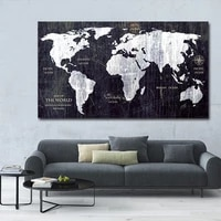 retro hd world map abstract art wall painting poster printing living room corridor bedroom home decoration accessories frameless