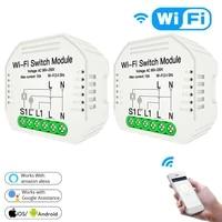 Module de commutateur WiFi avec support de Rail  application Tuya Smart Life  2 voies 90-250V  fonctionne avec Alexa Google Home
