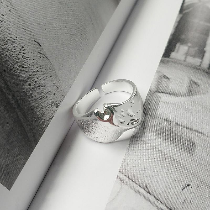 Anillo de plata de ley S925 de estilo coreano, anillo abierto de montaña moteado minimalista Ins, anillo de estudiante personalizado combinable con todo para mujer
