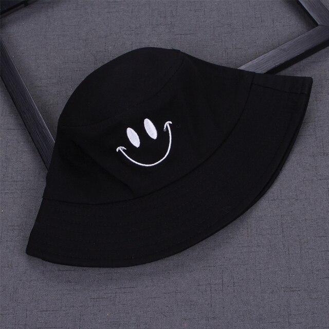 1PC Women Smile Bucket Hat Double Sided Bucket Hat Smiling Face Unisex Fashion Bob Cap Hip Hop Gorro Men Summer Cap 6