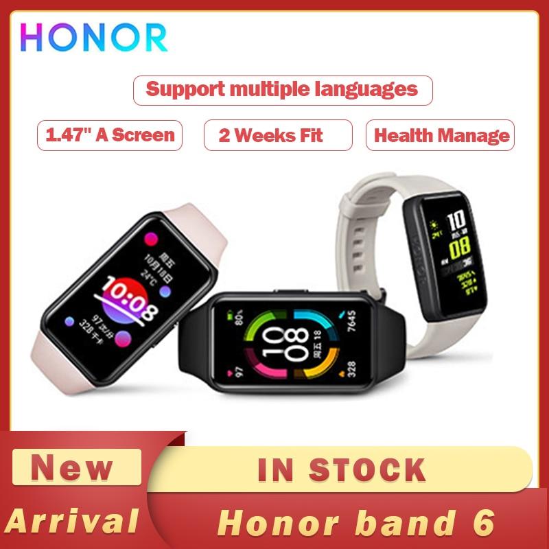 Original Honor Band 6 Smart Bracelet AMOLED Swimming Waterproof Bluetooth Fitness Sleep Heart Rate Monitoring Music Calling