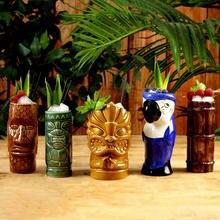 400ml Taza de cerámica Tiki 5 estilos Hawaii cara Copa Tiki con mango estatua Warrior taza vaso de vino Copa cóctel cerveza