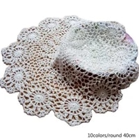 luxury lace cotton table place mat crochet coffee round placemat pad christmas drink coaster cup mug tea dining doily kitchen